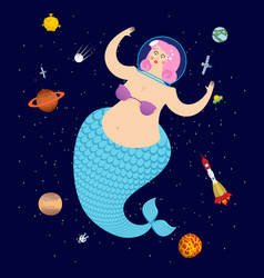 mermaid in space mythical sea woman in astronaut vector image