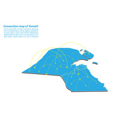 Modern of kuwait map connections network design vector