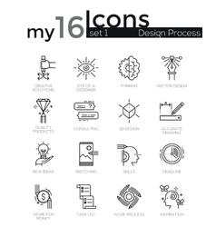 Modern thin line icons set of design process vector