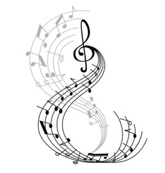 Music note poster with musical symbol on staff vector