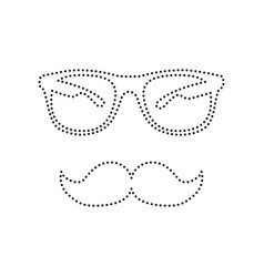 mustache and glasses sign black dotted vector image