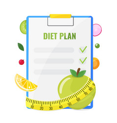 notepad with diet plan vector image