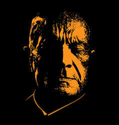old sad man portrait in contrast backlight vector image