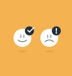 Opposite emotions smile emoji sad icon customer vector