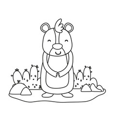 Outline happy bear wild animal in the landscape vector