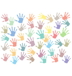 pastel colorful hand print multi style on white vector image