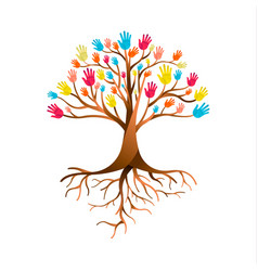 people hand tree for diversity teamwork vector image