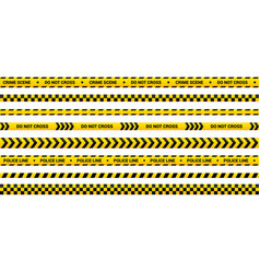 police tape set yellow warning strip in 8 vector image