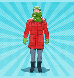 Pop art frozen man in warm winter clothes vector