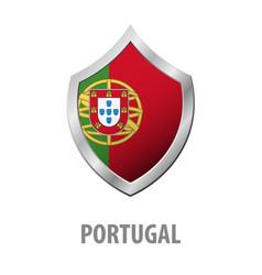 portugal flag on metal shiny shield vector image