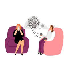 Psychotherapy concept with female patient vector