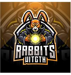 Rabbit witch esport mascot logo vector