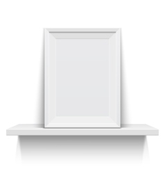 Realistic picture frame on white shelf vector image