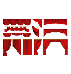 Realistic red curtains cinema and theater stage vector