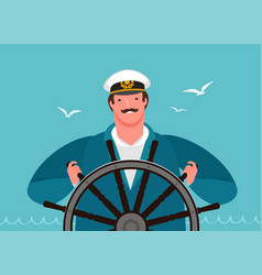 Sailor at helm ship sailing cruise vector