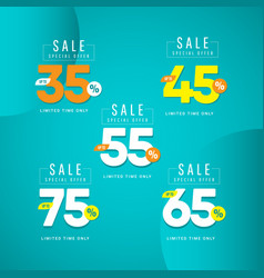 Sale special offer up to 35 45 55 65 75 limited vector