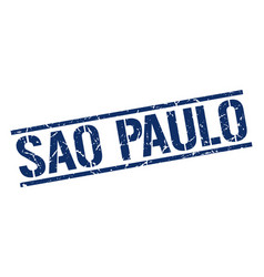 Sao paulo blue square stamp vector