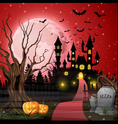 scary castle with pumpkins and bats in the woods vector image