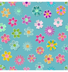 Seamless pattern of paper flowers vector image
