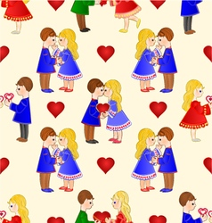 Seamless texture Valentines Cute figure vector image
