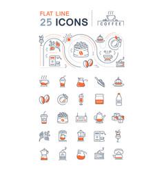set flat line icons coffee vector image