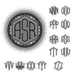 set letters for decoration stylish retro vector image
