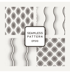 set of seamless geometric patterns of mesh vector image