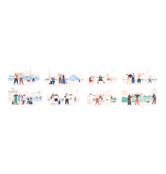 set traveling people visiting famous city vector image
