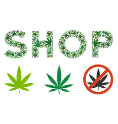 Shop text collage of weed leaves vector