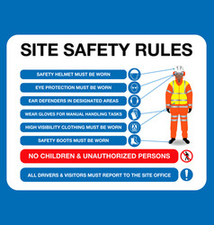 Site safety rules board vector