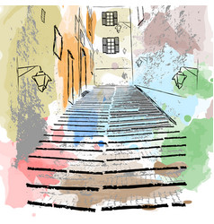 sketch drawing of an old european street vector image