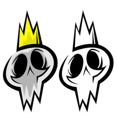 skull in a gold crown vector image
