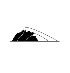 sloping hill silhouette icon in flat style vector image