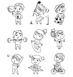 Sports and fitness funny cartoon character vector