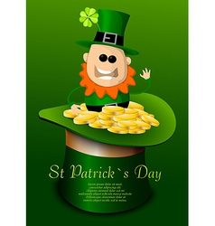 St Patricks Day hat with leprechaun vector image