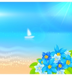 Summer background with boat in the sea vector