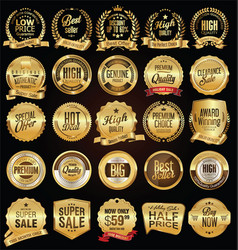 Super sale golden retro badges and labels vector