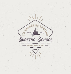 surf school emblem in unique retro style best vector image