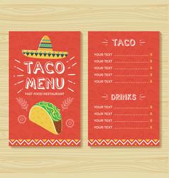 Taco menu template vector