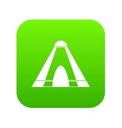 Tepee icon digital green vector