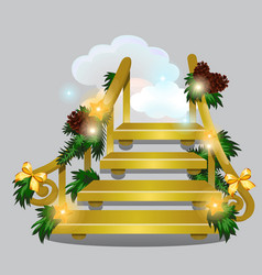 The golden stair leading into the snow clouds vector