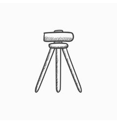 Theodolite on tripod sketch icon vector