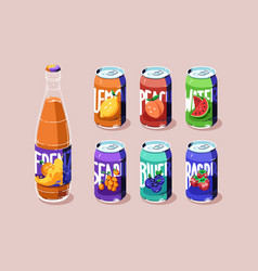 Tin cans and glass bottle with juice or lemonade vector