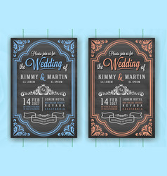 Vintage chalkboard wedding invitation card vector