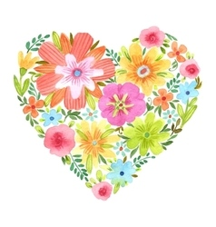 Watercolor heart of flowers vector image
