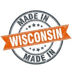 Wisconsin orange grunge ribbon stamp on white vector