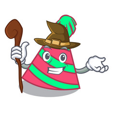 Witch party hat mascot cartoon vector