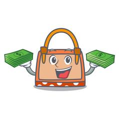 with money hand bag mascot cartoon vector image