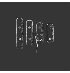 Xylophone with mallet Drawn in chalk icon vector