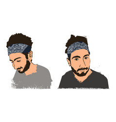 Young handsome bearded guy hipster in bandana vector